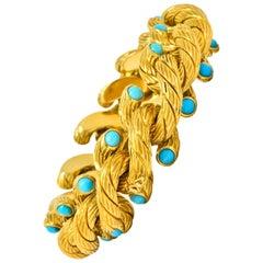Weingrill Vintage Turquoise 18 Karat Gold Italian Link Bracelet, circa 1970s