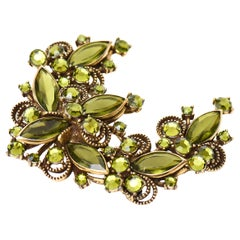 Weiss Chartreuse Glass and Rhinestone Half Moon Pin Brooch Vintage