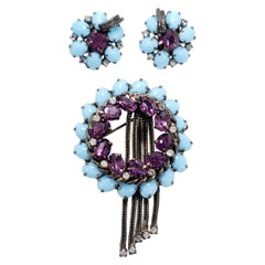 Weiss Floral Pin Brooch and Clip On Earrings, Turquoise and Emerald Crystals