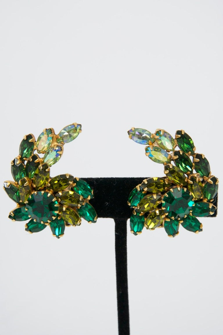 Weiss Green Rhinestone Earrings For Sale 5