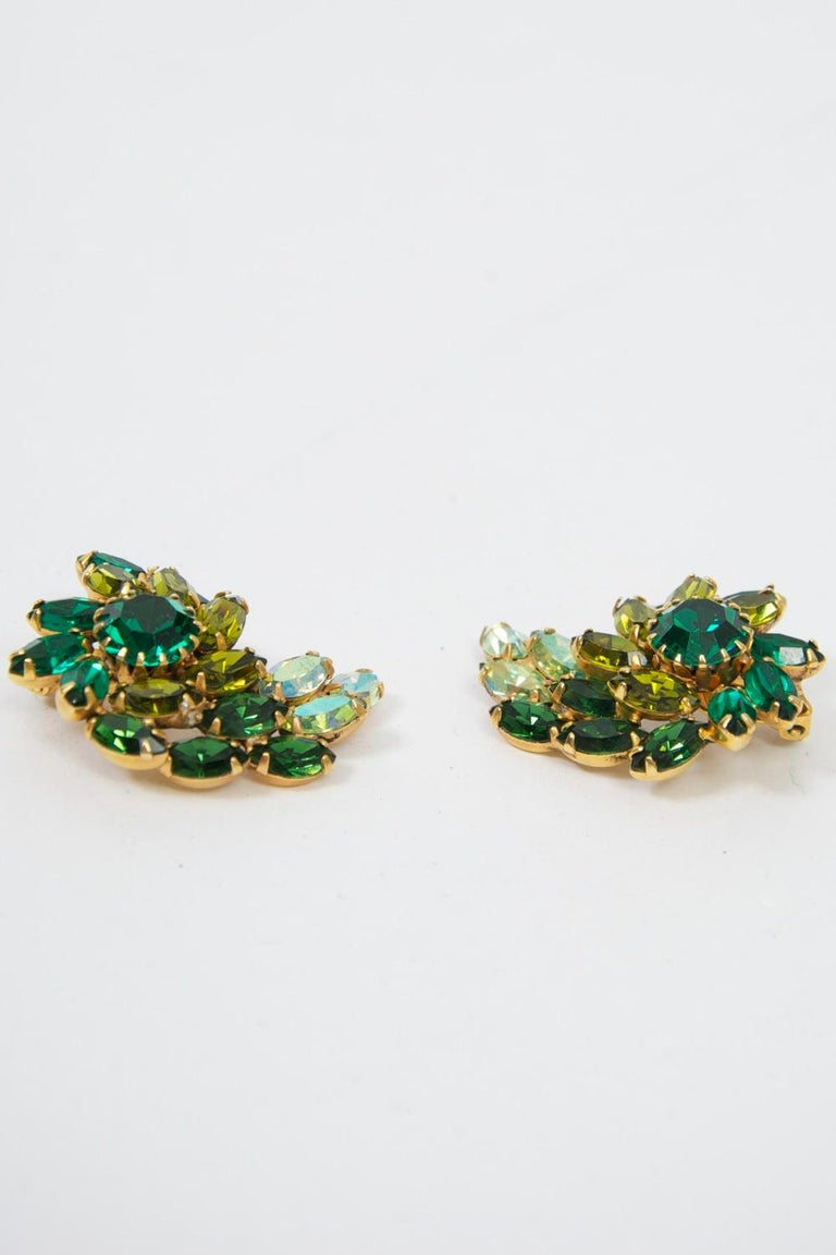 Weiss Green Rhinestone Earrings For Sale 3