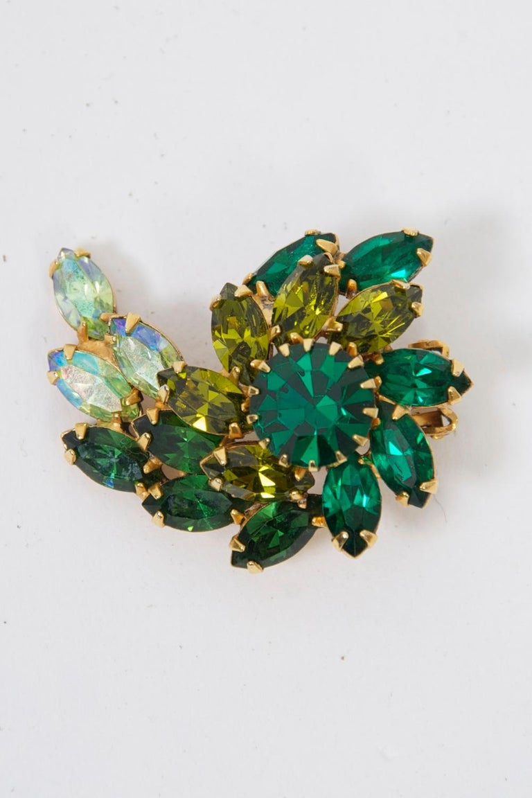 Weiss Green Rhinestone Earrings For Sale 4