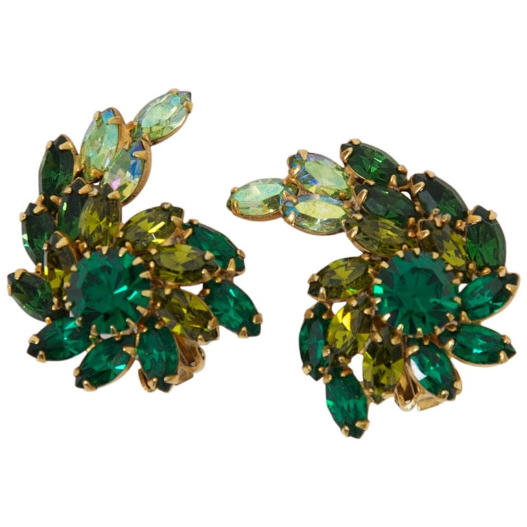 Weiss Green Rhinestone Earrings For Sale
