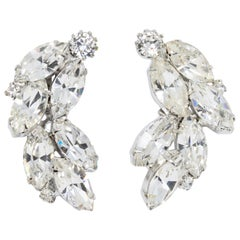 Weiss Marquise and Round Clear Crystal Cluster Clip on Earrings in Silver