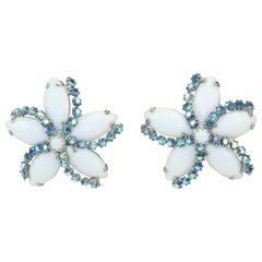 Weiss Milk Glass & Blue Rhinestone Starfish Earrings, 1950's