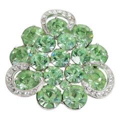 "Weiss Pale Green Austrian Crystal Lucky Horseshoe Brooch Pin - 2"", 1950s"