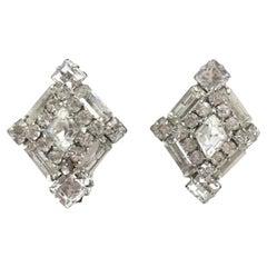 Weiss Vintage Earrings Crystal Lozenge 1950S