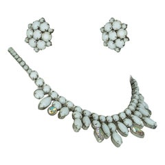 Weiss White Jasper and Crystal Fringe Collar Necklace and Earring Suite, 1960s