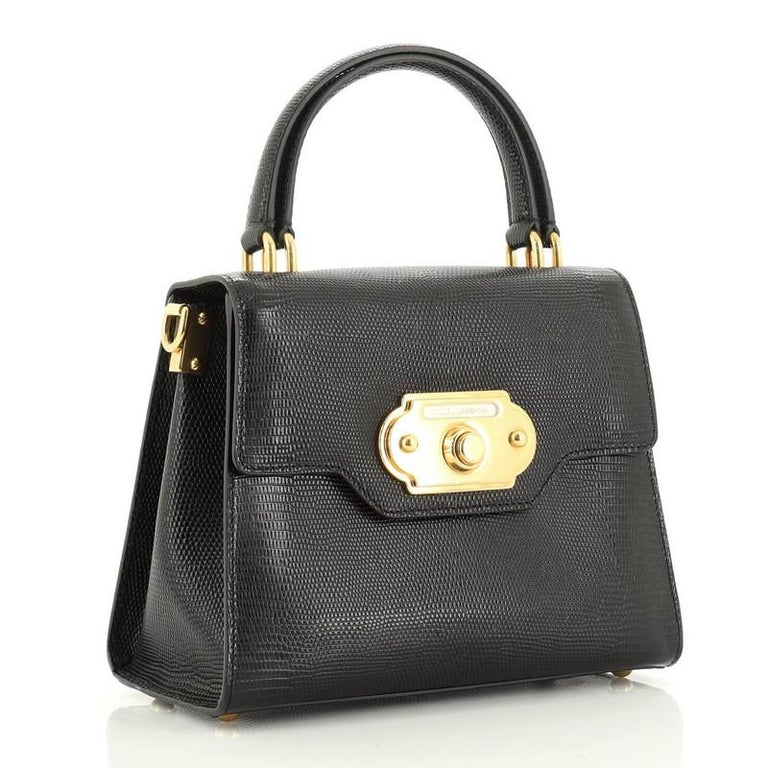 Welcome Top Handle Bag Lizard Embossed Leather Small In Good Condition For Sale In New York, NY