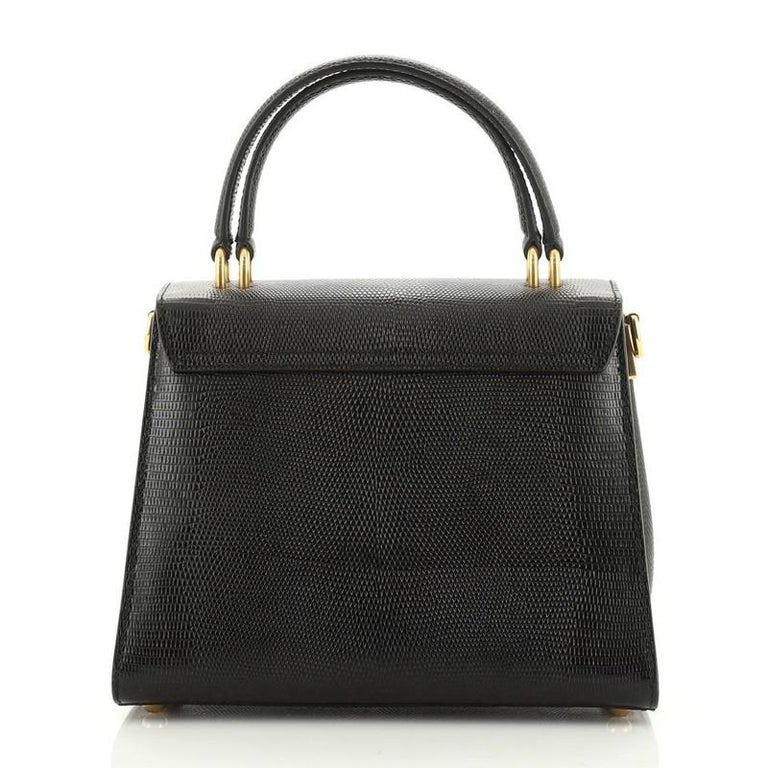 Women's or Men's Welcome Top Handle Bag Lizard Embossed Leather Small For Sale