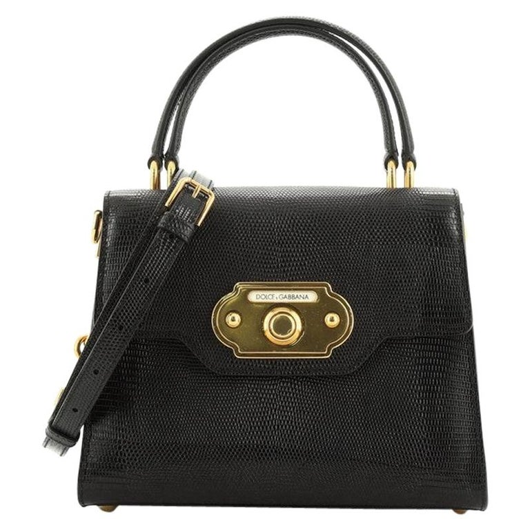 Welcome Top Handle Bag Lizard Embossed Leather Small For Sale