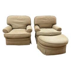 Welcoming Pair of Ralph Lauren Club Chairs & Matching Ottoman