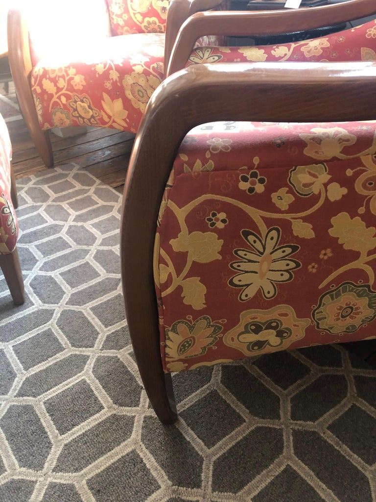 Welcoming Set of Classy Art Deco Club Chairs and Matching Ottoman For Sale 6