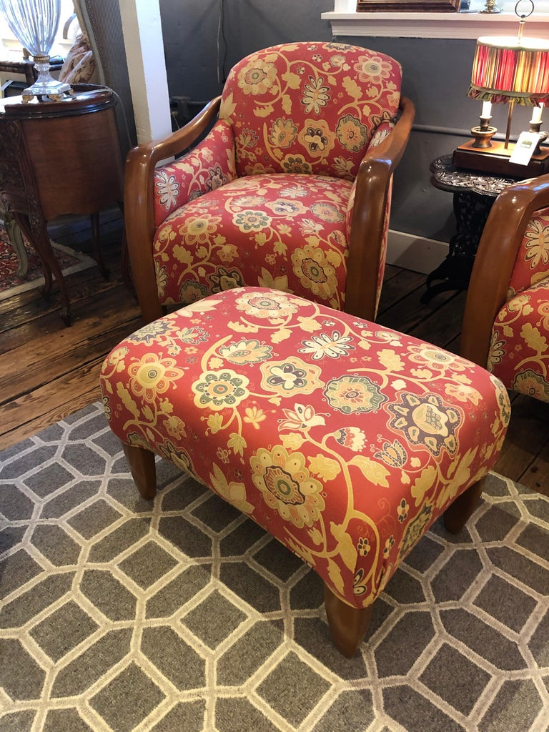 Welcoming Set of Classy Art Deco Club Chairs and Matching Ottoman For Sale 11