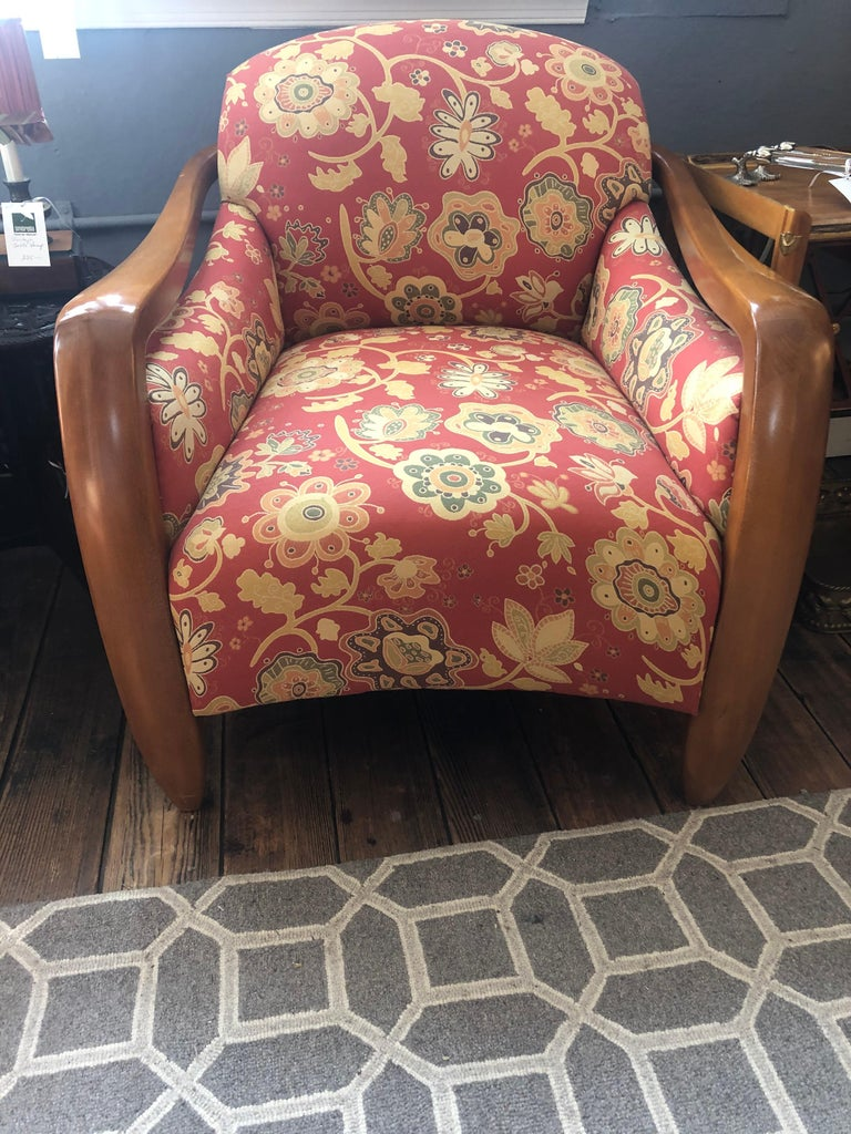Late 20th Century Welcoming Set of Classy Art Deco Club Chairs and Matching Ottoman For Sale