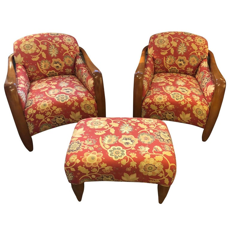 Welcoming Set of Classy Art Deco Club Chairs and Matching Ottoman For Sale