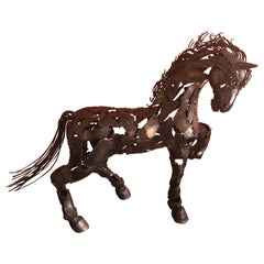 Welded Metal Horse Sculpture by J. Rivas in the Style of Jiang Tie-Feng