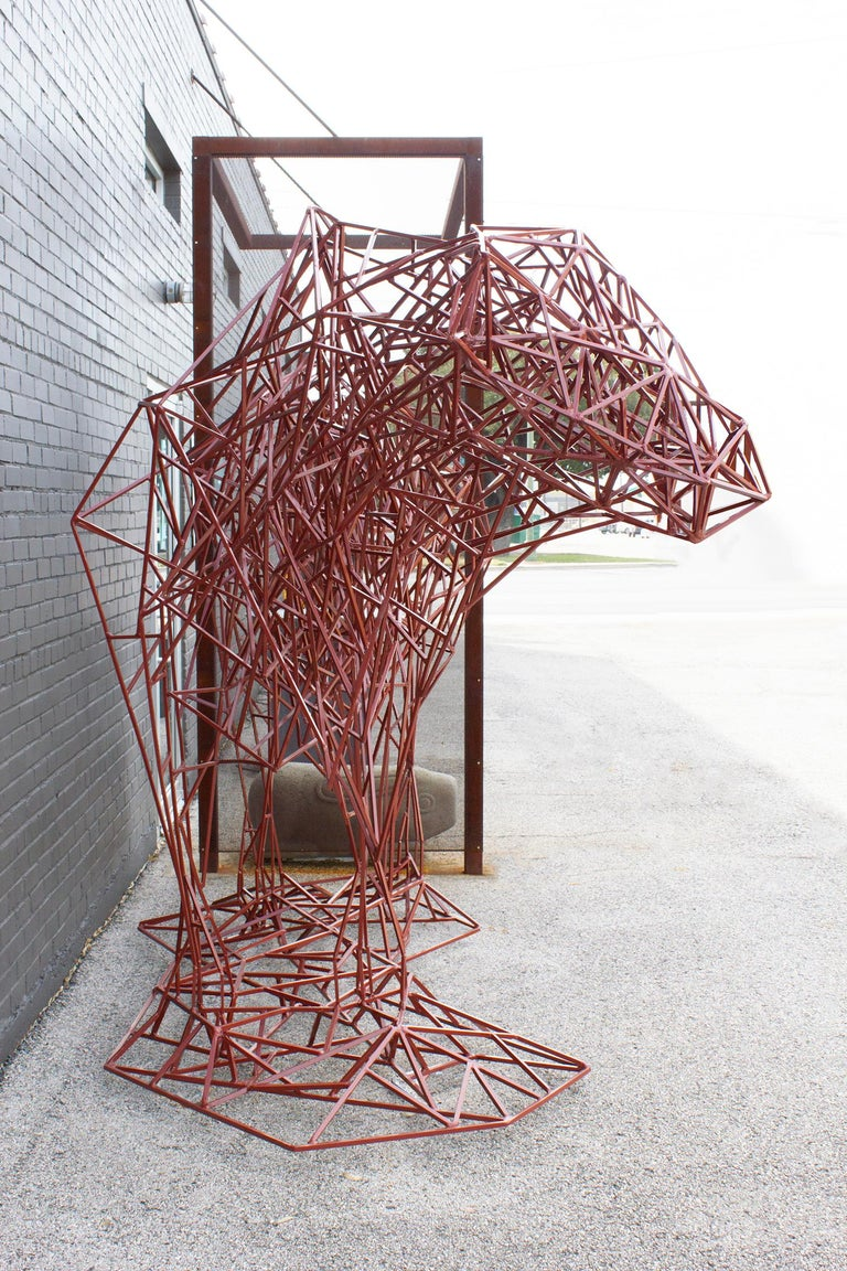 Welded Steel Abstract Modernist Red Heifer Sculpture by Artist Mark Doyle For Sale 4