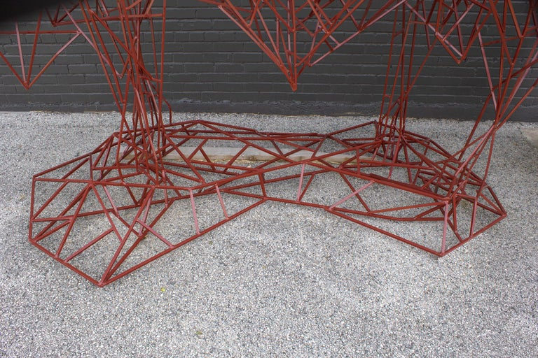 Welded Steel Abstract Modernist Red Heifer Sculpture by Artist Mark Doyle For Sale 6