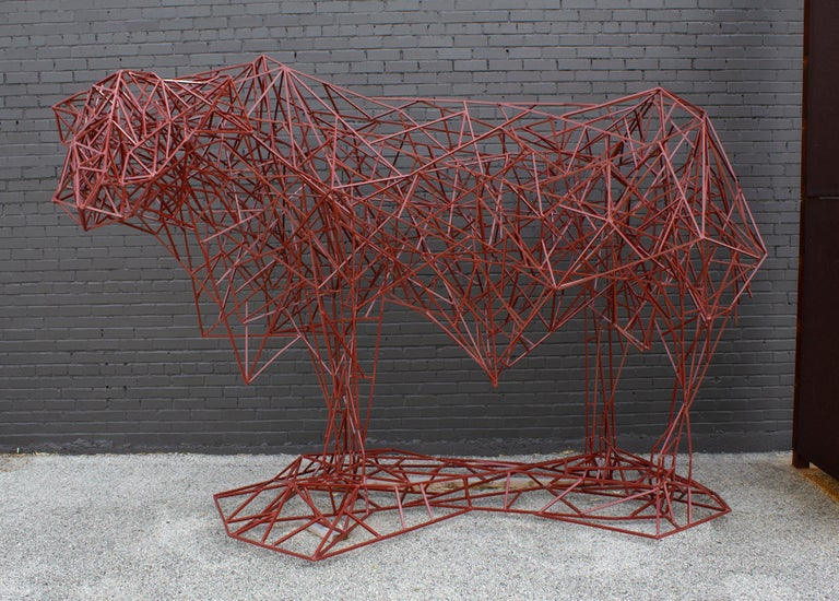 Welded Steel Abstract Modernist Red Heifer Sculpture by Artist Mark Doyle For Sale 7