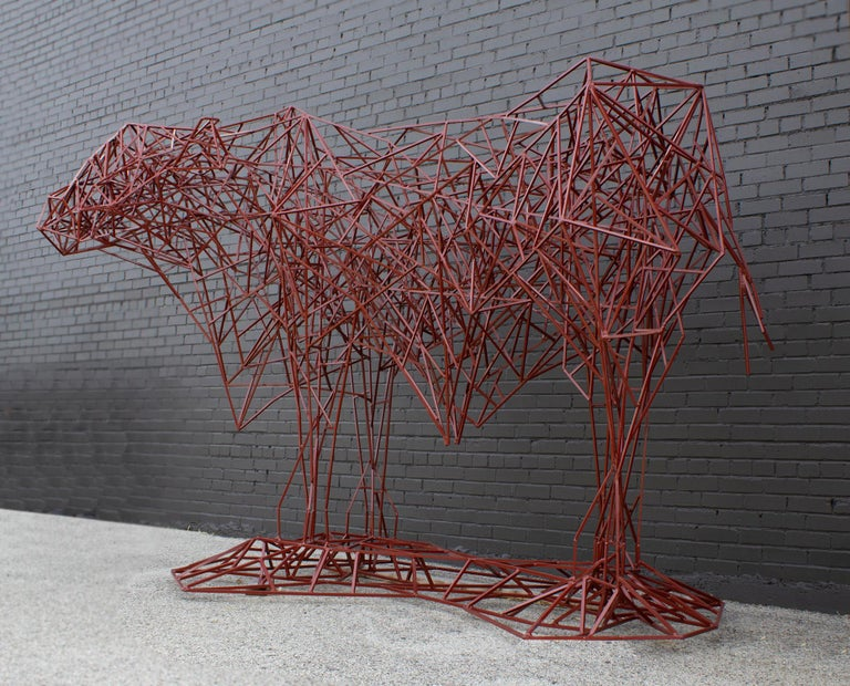 Large Scale brutalist modern sculpture created by Texas Artist Mark Doyle at the turn of the century. This sculpture was handmade in the artist's studio from hundreds of feet of solid bar square steel rods. It was just recently re-powder coated and