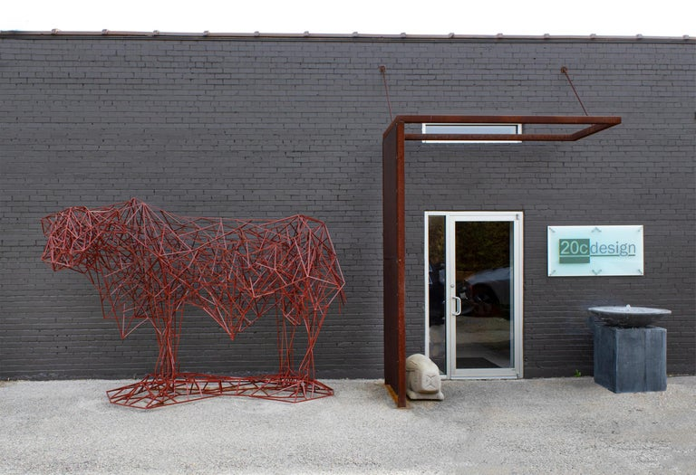 American Welded Steel Abstract Modernist Red Heifer Sculpture by Artist Mark Doyle For Sale