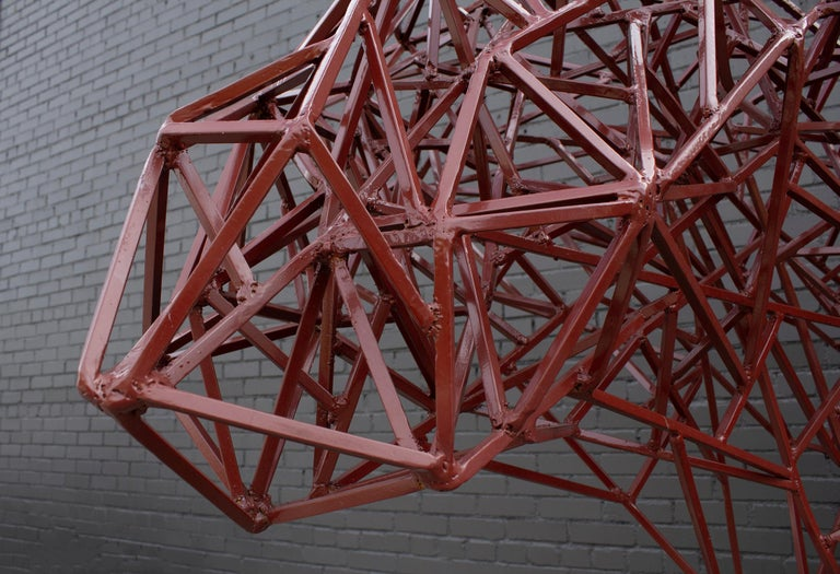 Contemporary Welded Steel Abstract Modernist Red Heifer Sculpture by Artist Mark Doyle For Sale