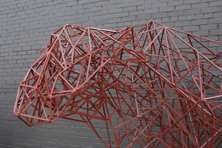 Welded Steel Abstract Modernist Red Heifer Sculpture by Artist Mark Doyle For Sale 3