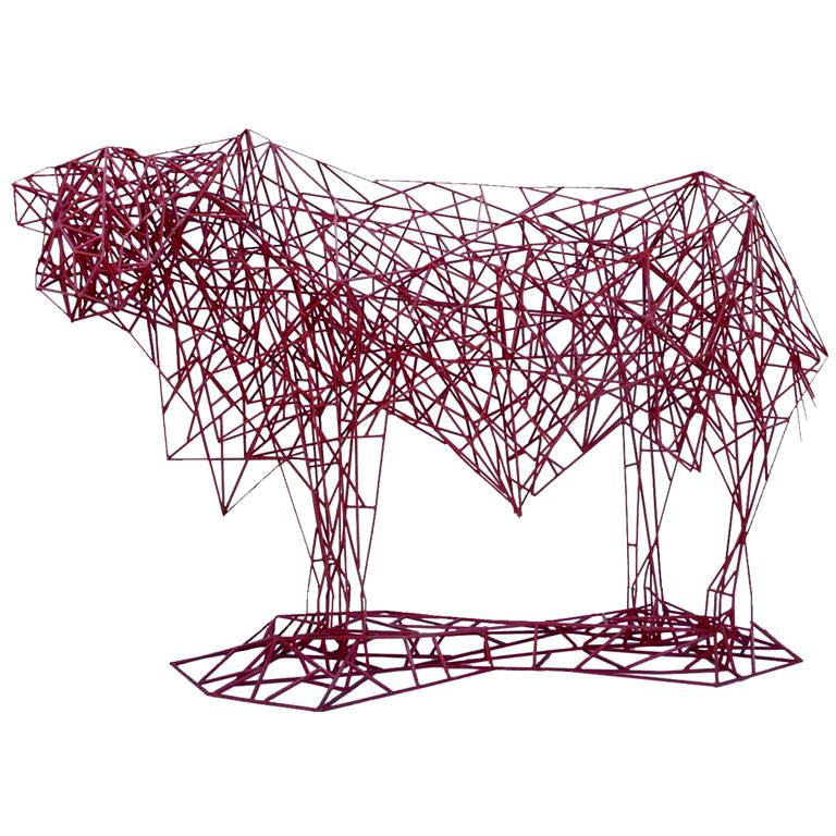 Welded Steel Abstract Modernist Red Heifer Sculpture by Artist Mark Doyle For Sale