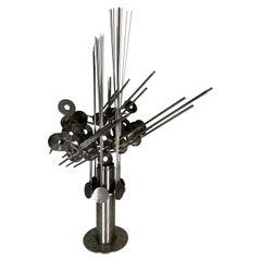 "Welded Steel Table Sculpture ""Interdimensional Antennae"" by D. Phillips"