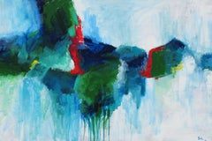 Misty in Blue and Green, Abstract Painting