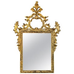Well-Carved English George II Style Giltwood Mirror with Dramatic Crest