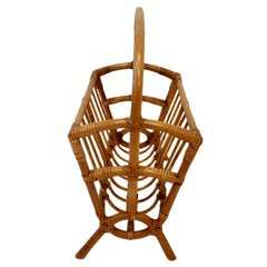 Well Preserved Bamboo Rattan Magazine Stand Attributed to Tochiku, Japan