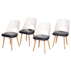 Well Preserved Black and White Beech Chairs by Oswald Haerdtl, 4 Pcs, 1950s