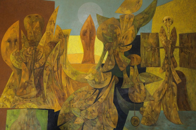 Mid-Century Modern Weller Painting Composed of Futurist Organic Forms, 1940s For Sale