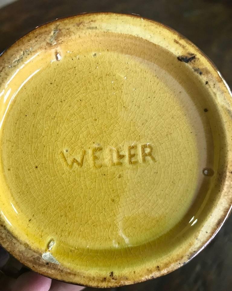Ceramic Weller Pottery Louwelsa Mushroom Cup or Mug For Sale