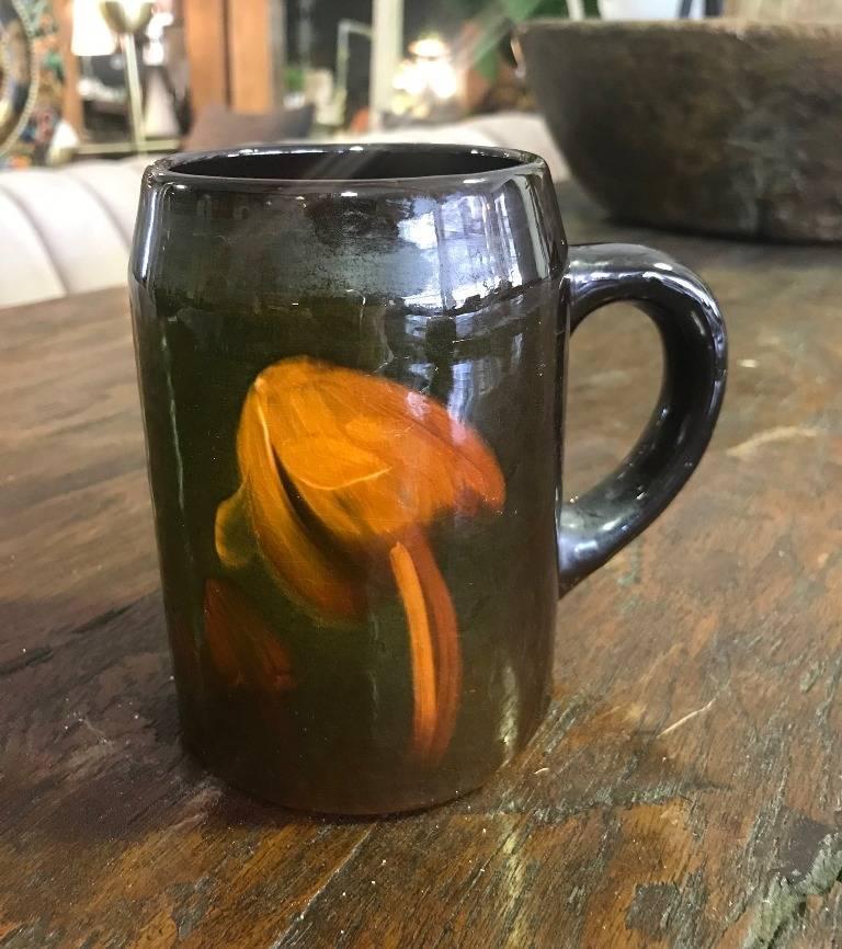 Weller Pottery Louwelsa Mushroom Cup or Mug For Sale 1
