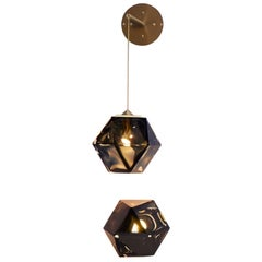 Welles Double Blown Flush Mount Sconce with White or Black Glass and Satin Brass