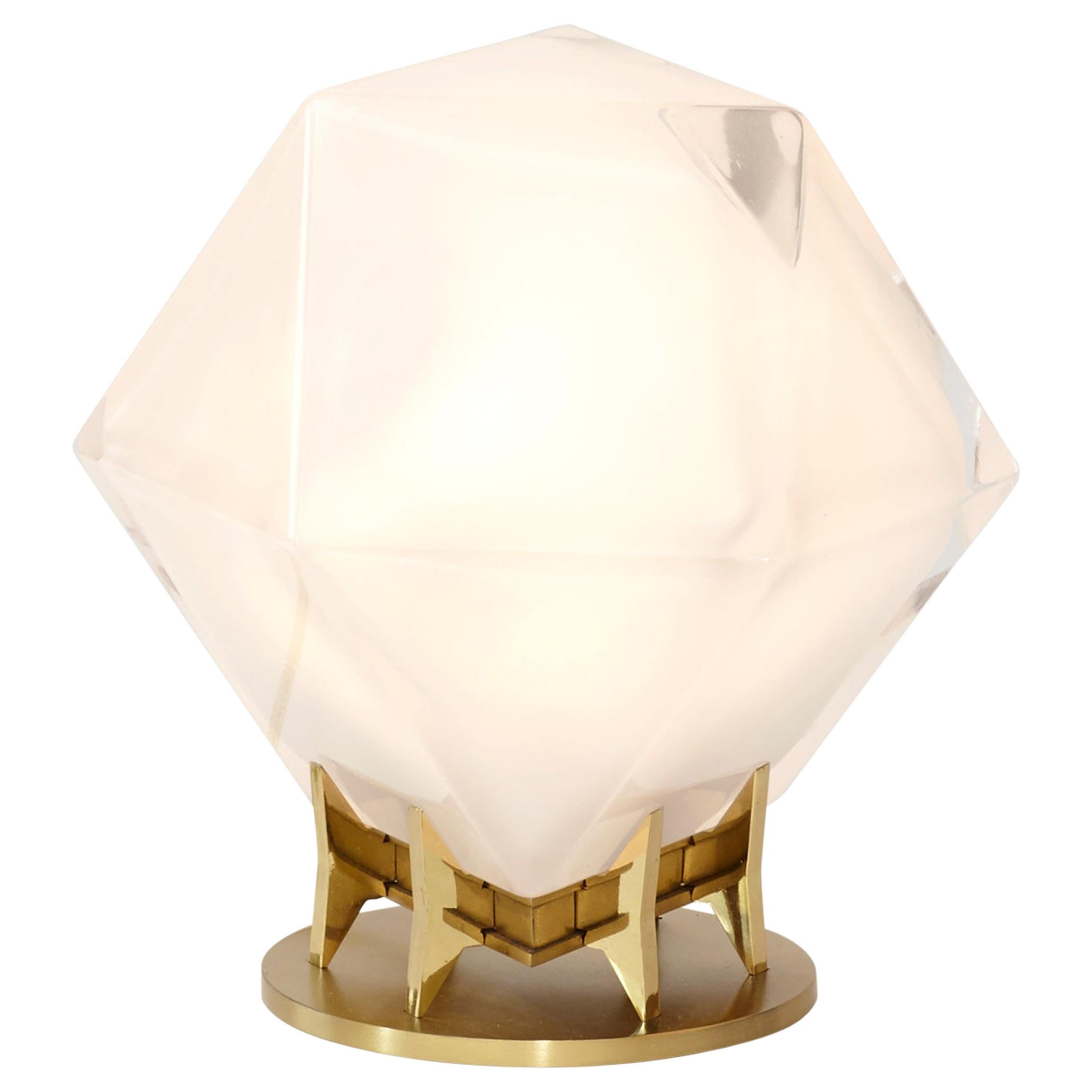 Welles Double Blown Glass Desk Lamp in Alabester White Glass by Gabriel Scott