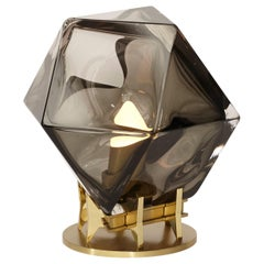 Welles Double Blown Glass Desk Lamp in Smoked Grey Glass by Gabriel Scott