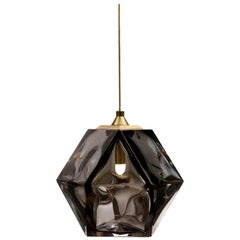 Welles Double Blown Glass Hanging Sconce in Smoked Grey by Gabriel Scott