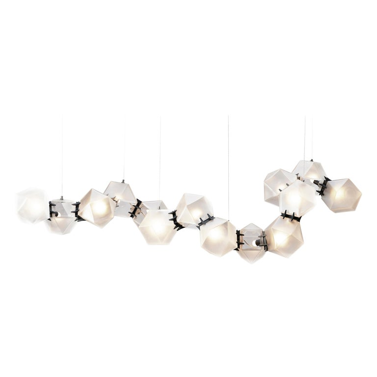 For Sale: Black (Black Steel) Welles Glass Long Chandelier in Alabaster White Glass by Gabriel Scott