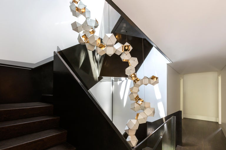 Welles Long Modular Chandelier in White Steel and Satin Copper, Brass and Nickel For Sale 1