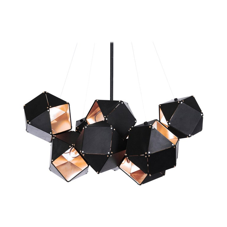 For Sale: Gold (Satin Brass) Welles Steel Central Chandelier in Black by Gabriel Scott