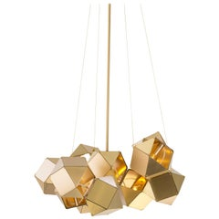 Welles Steel Central Chandelier in Satin Brass by Gabriel Scott
