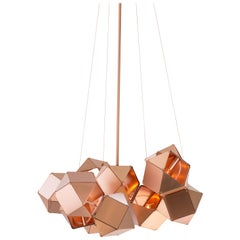 Welles Steel Central Chandelier in Satin Copper by Gabriel Scott