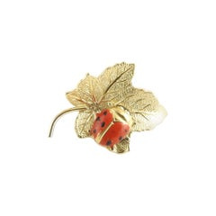 Wells 14 Karat Yellow Gold Leaf and Ladybug Pin / Brooch