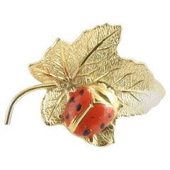 Wells 14 Karat Yellow Gold Leaf and Ladybug Pin or Brooch