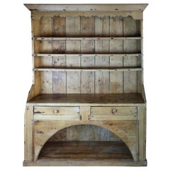 Welsh/ English Rustic Pine Dresser 20th Century with Open Plate Rack