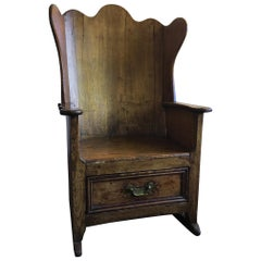 Welsh Pine Shepherd or Lambing Rocker Glider Chair with a Drawer, 19th Century